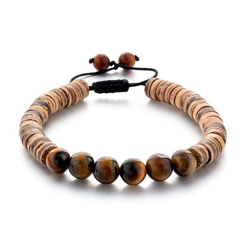 Hot Selling Coconut Shell Beads Beaded Wood Bracelet ,Tiger Eye Stone Beaded Bracelet For Women Or Men