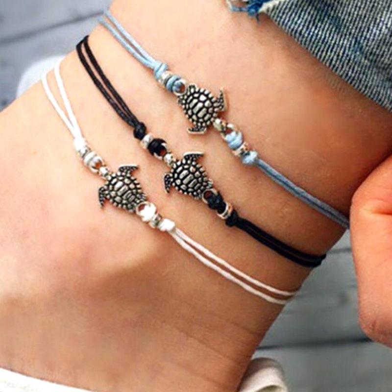 New Arrival Summer Beach Accessories Wax Rope Anklet Bracelet Vintage Sea Turtle Charm Anklet Bracelet