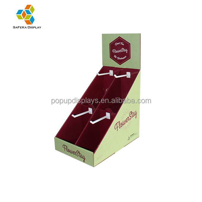 Shop Retail Paperboard Table Stand Cardboard PDQ Peg Hanging Floriation Counter Display Stand