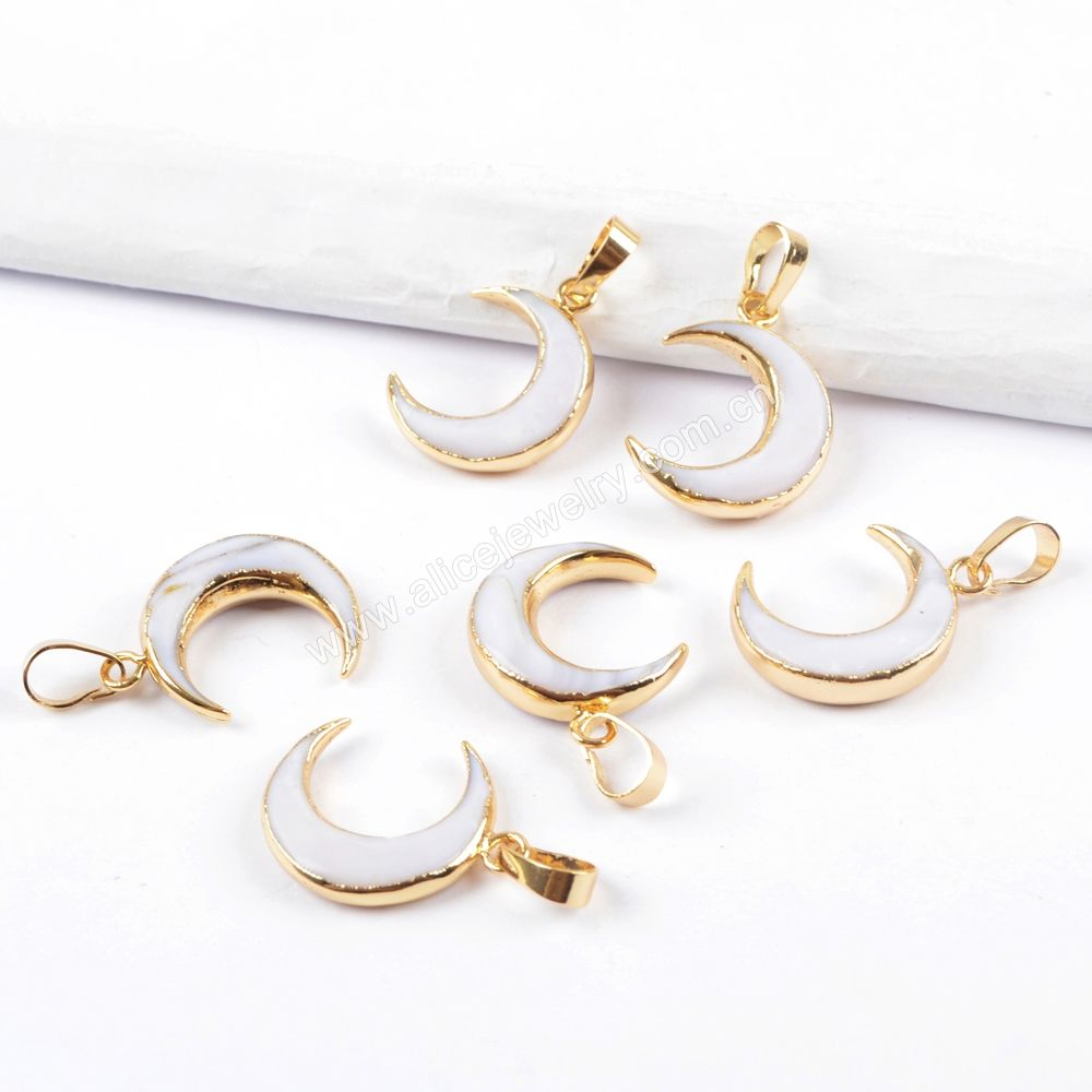 G1668 Natural white shell crescent horn pendant moon shape gold pendant Charms for jewelry making