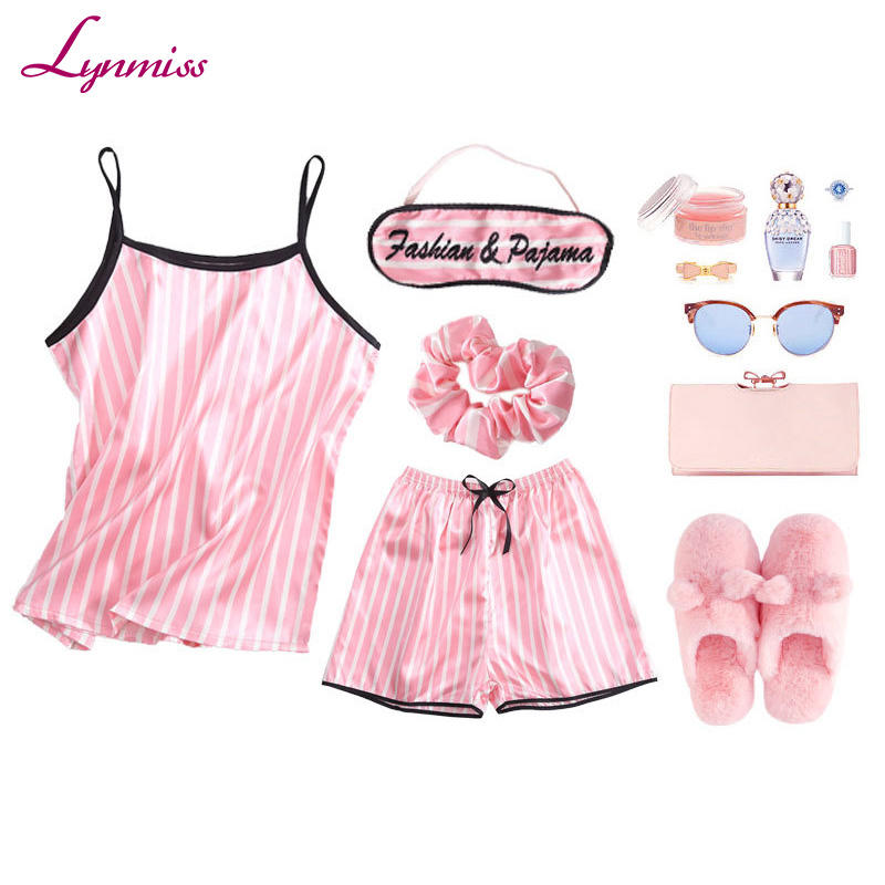 LY218 Women Fashion Pajamas Set Stripe Sleepwear Sexy Silk Satin 7pcs Spring Summer Sleepwear Pajamas Set