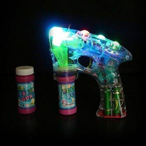 Kids Toys Bubble Gun 4 Led Lights and Music Flashing Bubbles Blower Blaster Squirt Favors Bubble Gun Toys Led