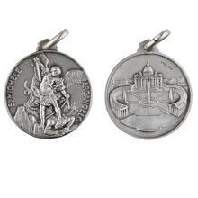 Antique plated coin signet sterling silver guardian angel talisman pendant necklace