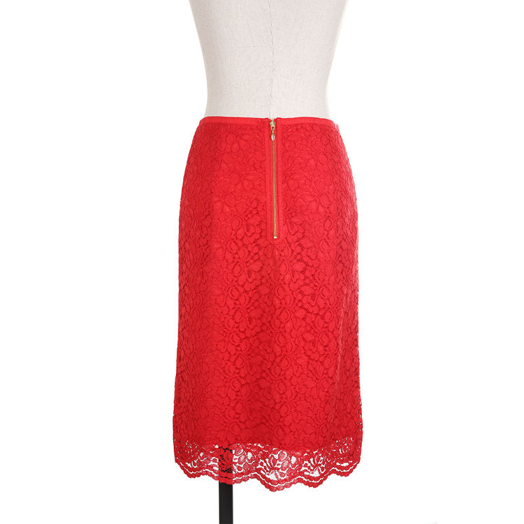China wholesale custom summer casual anti-wrinkle nylon red lace lady skirt