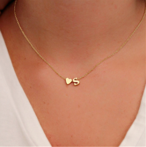 Tiny Gold Silver Initial Name Choker Necklace 26 Letters &Heart Pendant Necklace Women Collares Collier Gift Jewelry