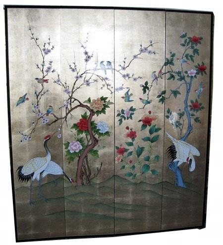 lacquer gold flower bird divider separation room screen