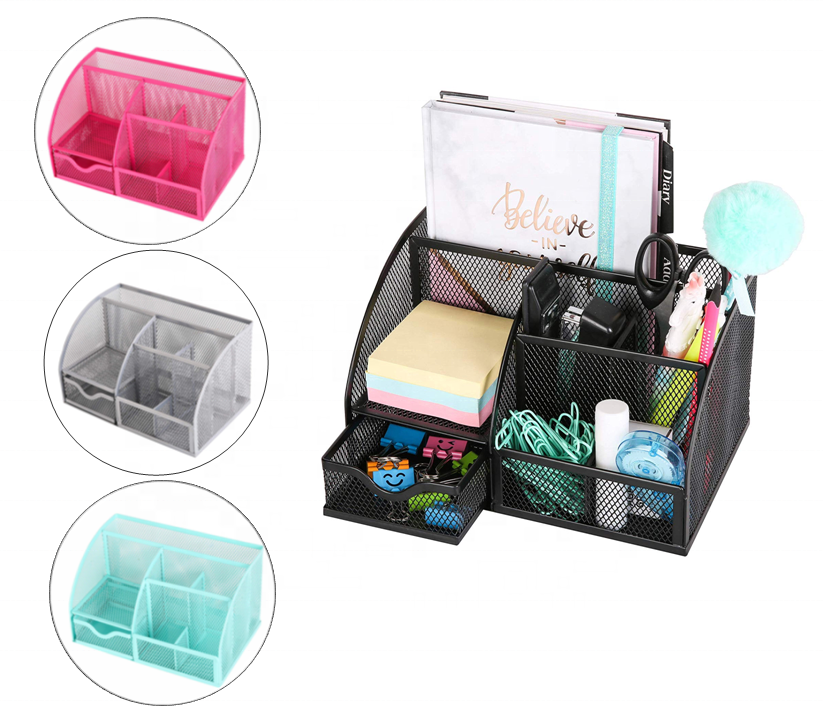 Metal Mesh Office Desk Organizer with 6 Compartments 1 Drawer, Multifunctional Holder for Pens, Clips, Memos