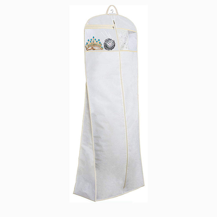 "Bridal Wedding Gown Dress foldable Garment suit Bag with Accessories Pouch Large Travel Garment Cover 8"" Gusset (White)"
