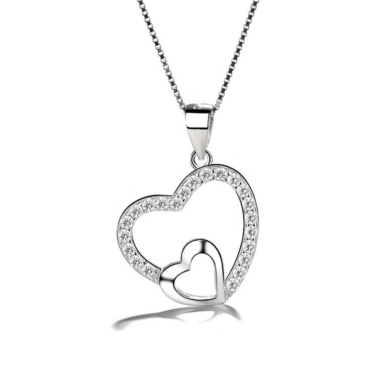 Love Double Hearts Necklaces Pendant For Women 925 Sterling Silver Pendant Valentine Day Jewelry Gifts