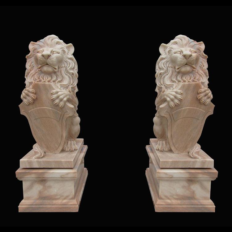 Talladas a mano la decoración del hogar del color mezclado mármol puerta León