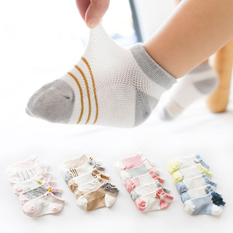 Wholesale Summer Animal Cotton Lace Newborn Baby Socks Gift Set Cute Breathable Mesh Baby Girl Boy Ankle Socks