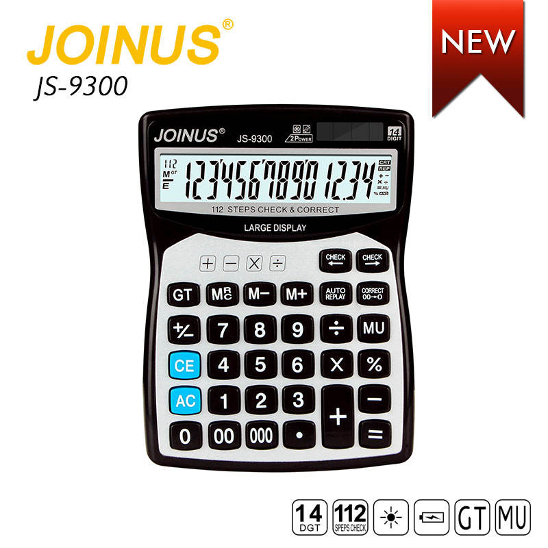 JOINUS Office Accessories Business Stationery Dual Power 14 Digits 112 Steps Check Correct Desktop Electronic Solar Calculator