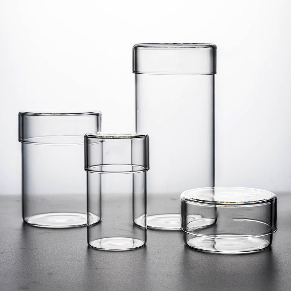 small thing storage Clear glass jar with glass cover