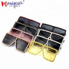 9 color 2018 Oversize Sunglasses Women Luxury Rhinestone Yellow Pink  Square Sunglasses Vintage shades for women