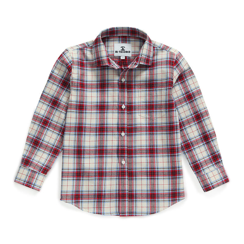 MJ TAILORED KIDS LITTLE BOYS GIRLS BABY LONG SLEEVE BUTTON DOWN RED PLAID FLANNEL SHIRT