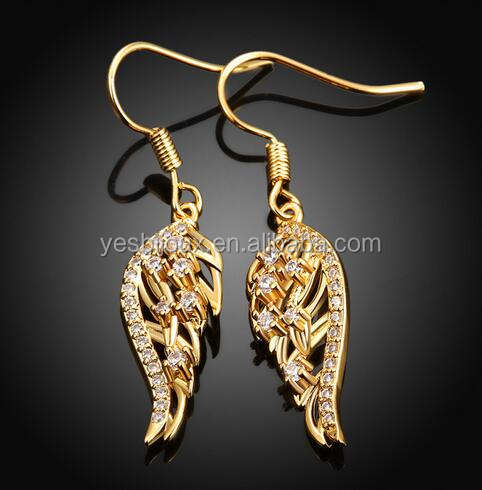 gold angle wings shaped pendant inlaid zircon earrings