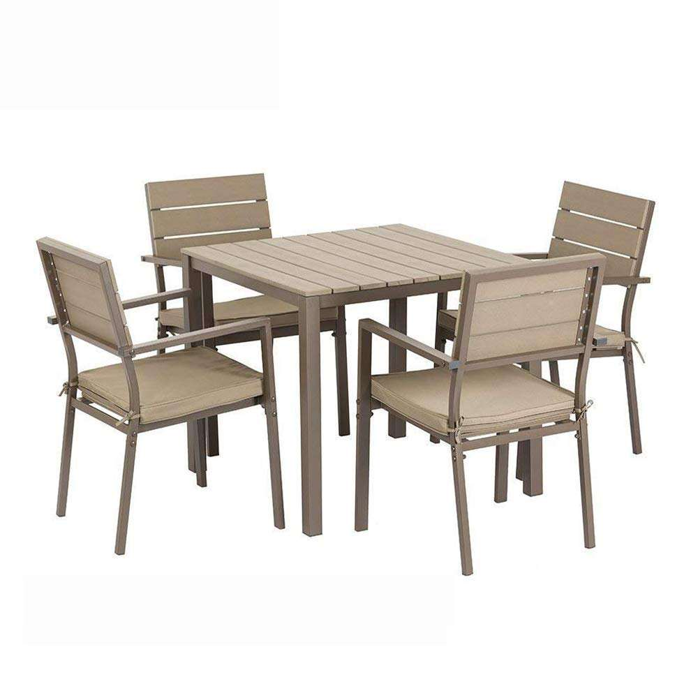 Outdoor /Indoor garden Patio stacking Dining Set Use for Square Backyard Pool furniture