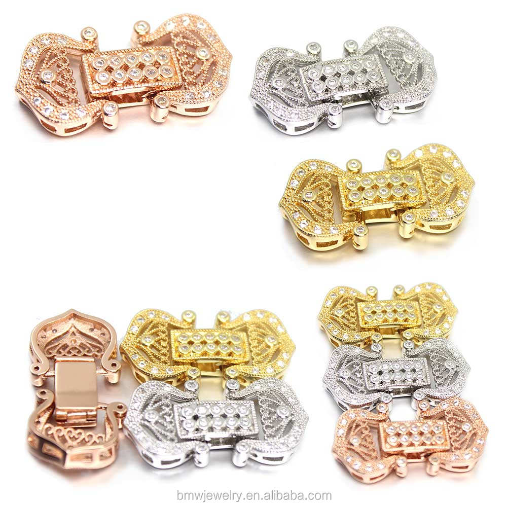 Wholesale Diamond Look CZ Cubic Zirconia Micro Pave Clasps for Leather 7mm 8mm Pearl Necklace