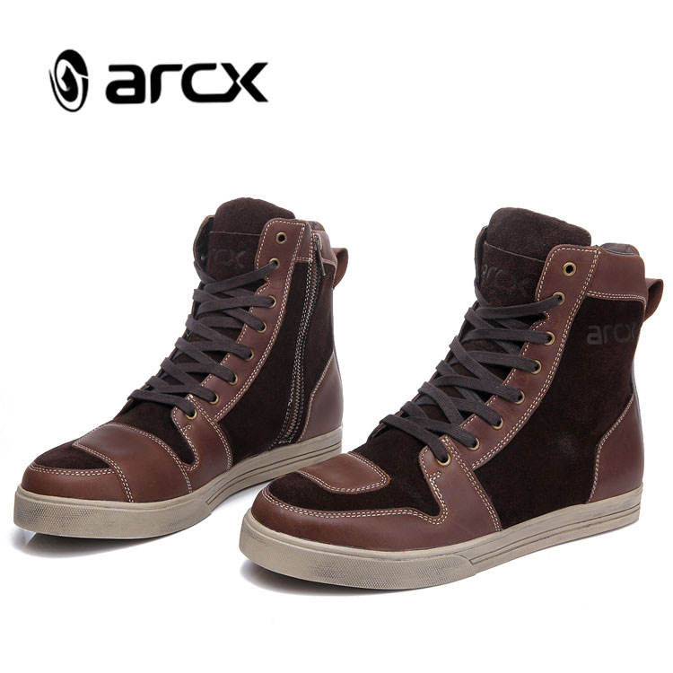 ARCX Classic Urban Leather Casual Boots Motorcycle Shoes for Men Coffee Color Retro Motorcycle Boots