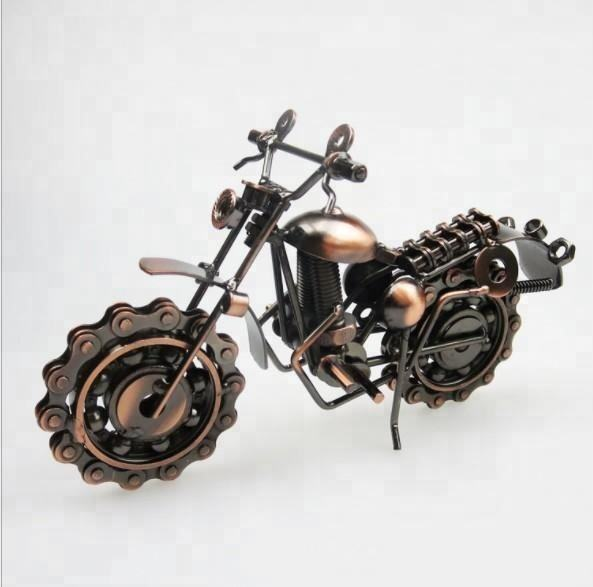 Metal Motorbike Model Motor Figurine Iron Motorcycle Model Birthday Gift Boy Toy Metal Crafts Home Desktop Decor 1805319