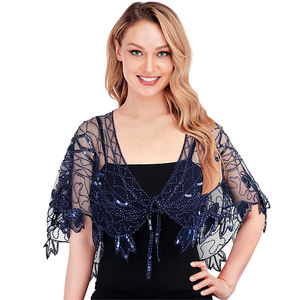Women's shawl beaded evening wrap costume flapper evening capes bolero flapper cover up