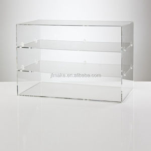 JuFeng large rectangular clear acrylic flower logo jewelry box