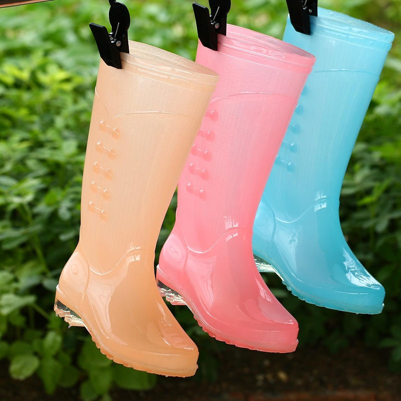 Women Candy Color Rain Boots England Light knee High Rain Boots Women