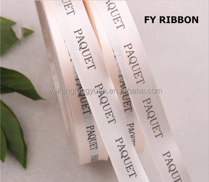 Super quality Promotional Printing logo Double face bows Satin Ribbon