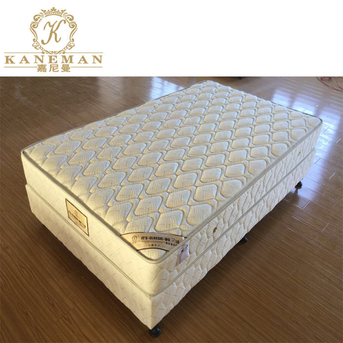 Cheap white knitted fabric spring mattress for hotel project