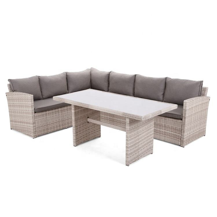 Economical custom design durable rattan corner Sofa outdoor furniture dining set