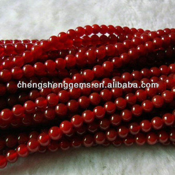 12mm Dyed Round Smooth Red Agate Chain Gemstone Beads