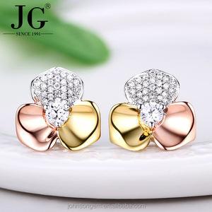 18k 14k gold plated earrings jewelry wholesale, daily wear gold earrings designs lucky clover zircon earring