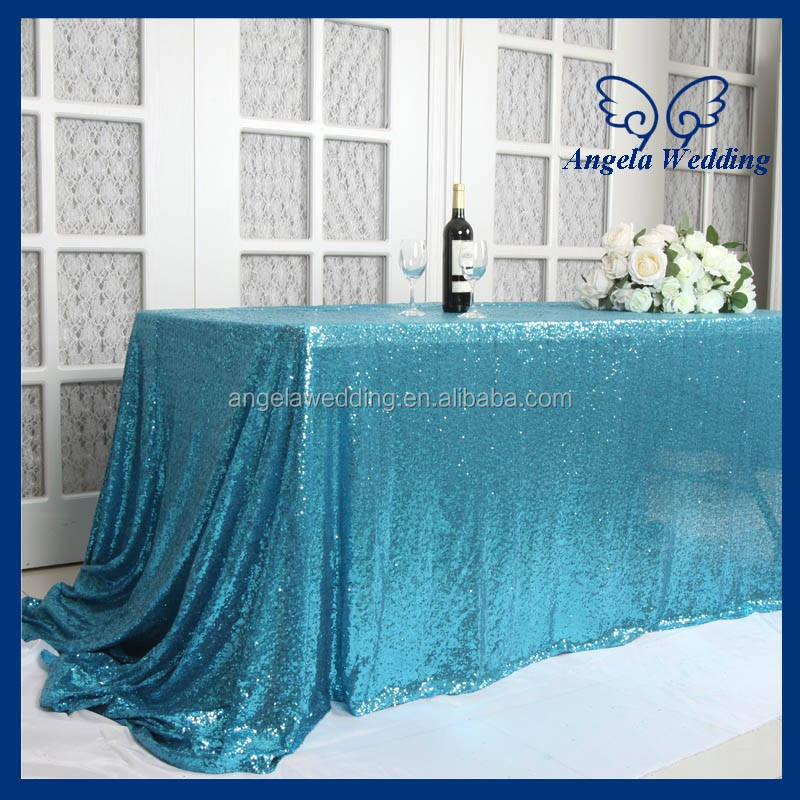 SQ001K Hot sale custom made stock elegant beaded embroidery metallic mesh sequence wedding aqua blue sequin table linens