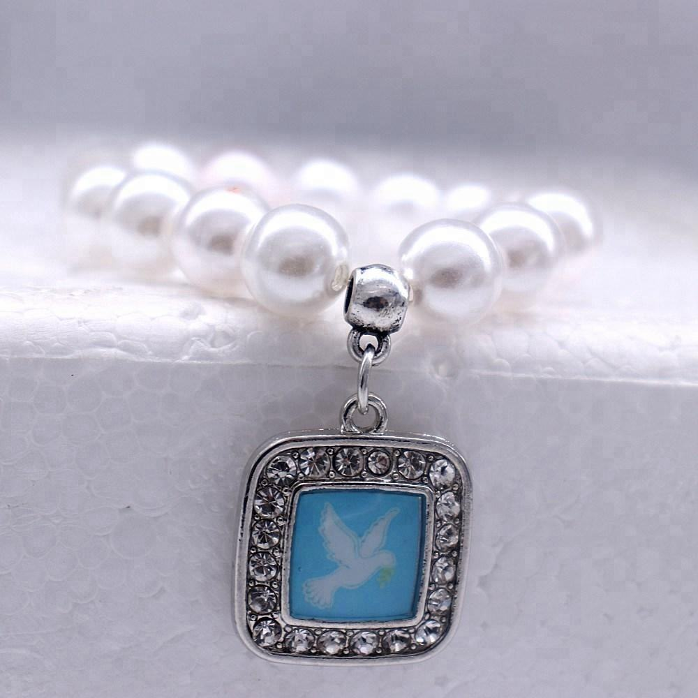 Custom Made Sorority Jewelry Fashion Zeta Phi Beta Dove Sticker Square Pendants Elastic String Pearl Bracelets For Women Girls