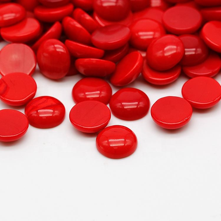 Cheap Price 9mm Glass Round Cabochon Synthetic Red Coral Stone
