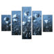 Customized 5 panels handmade modern natural flowers scene canvas oil painting with inner frame