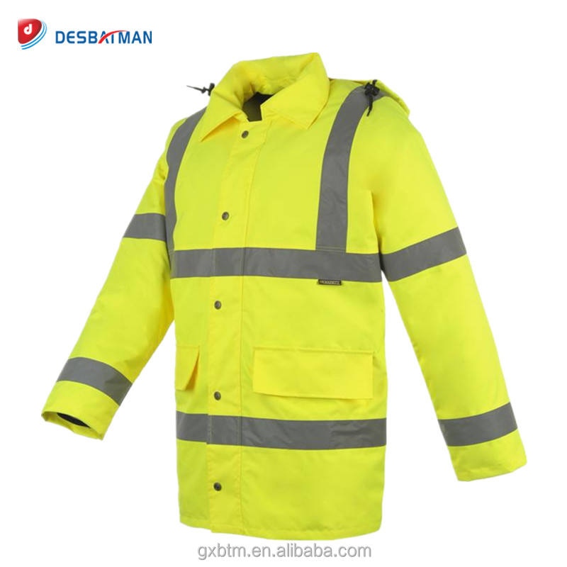Hi Viz Vis Work Contractors Parka Jacket Waterproof Padded Hooded Safety Coat