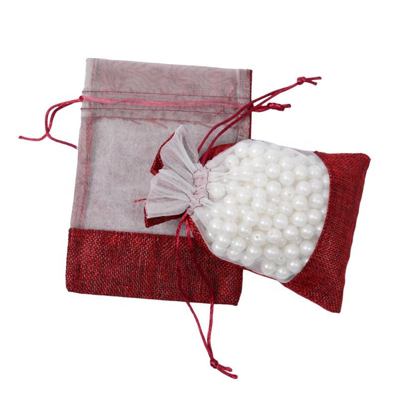Clear Window Red Burlap Jute Pouch Gift Bags For Wedding Festival Party Favors Candy Packaging Sack Party Supplies Bag