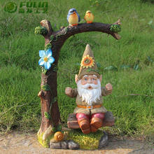 "13.2"" Funny garde gnome swing on a rope swing fairy statue garden decoration manufacturers."
