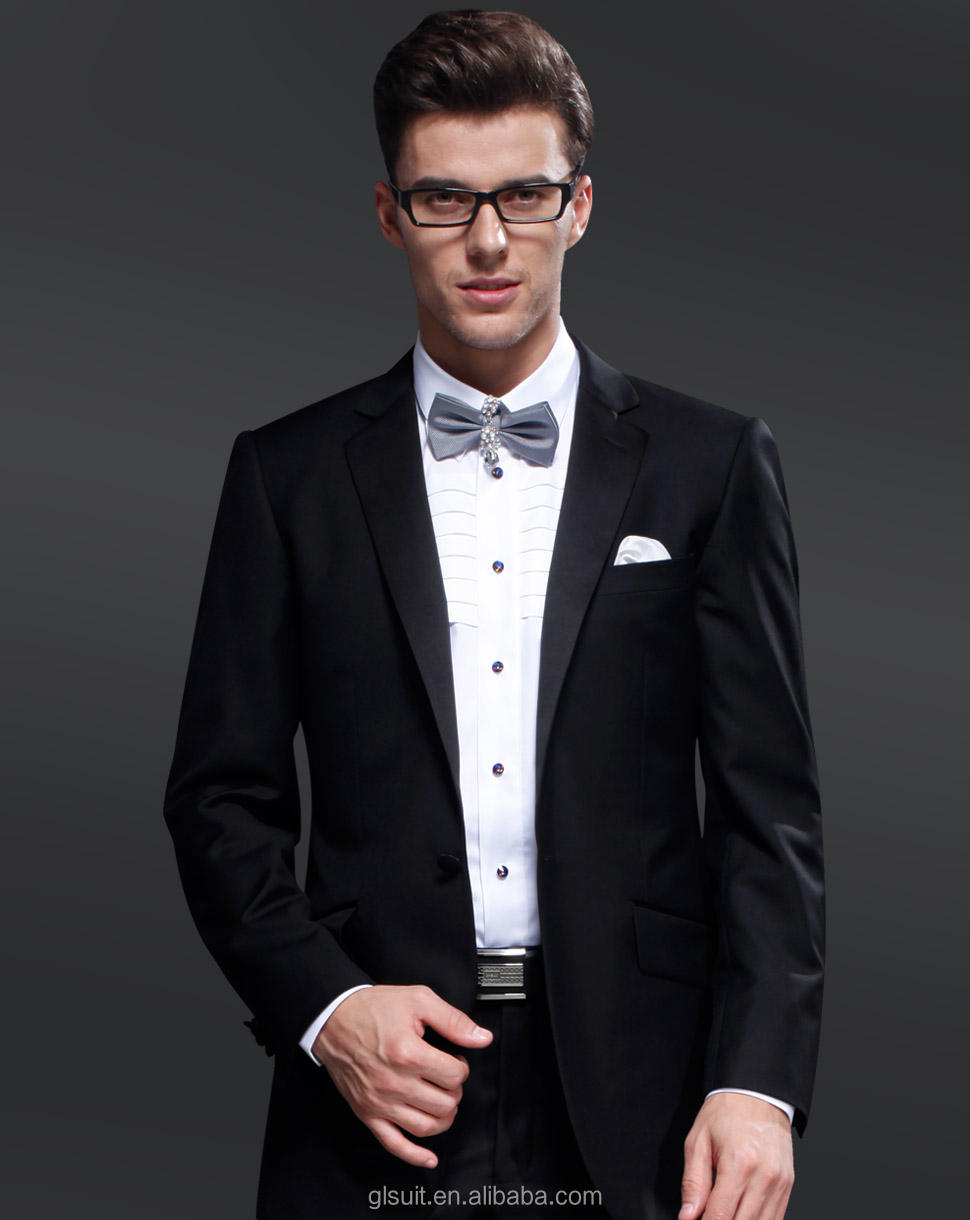 New notch lapel one buttons 70% wools black tuxedos for men western style tuxedo from China.