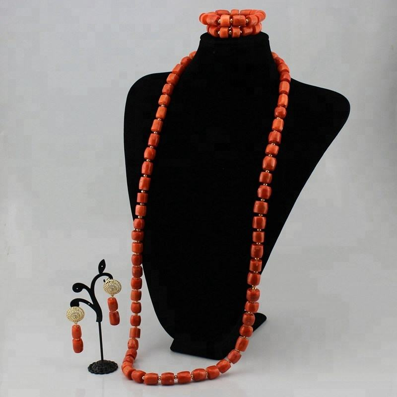 KJ2454 High Quality Nigerian African Wedding Beads coral Necklace Jewellery Jewelry Set