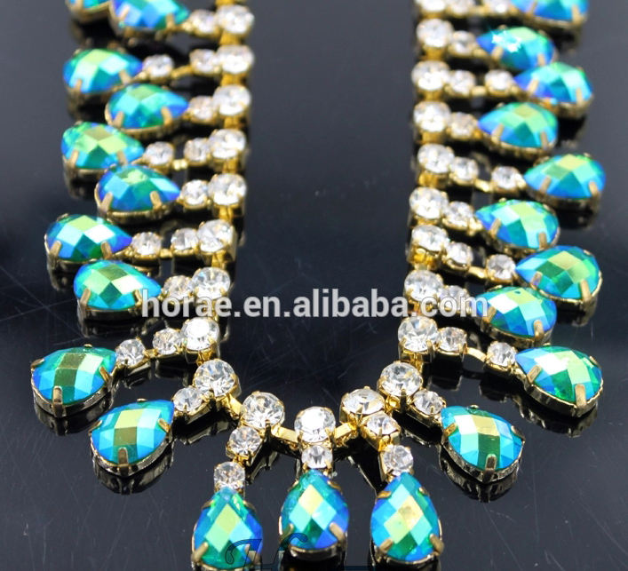 Fancy 3.2cm width green AB acrylic beads crystal rhinestone cup chain trimming for garments decoration