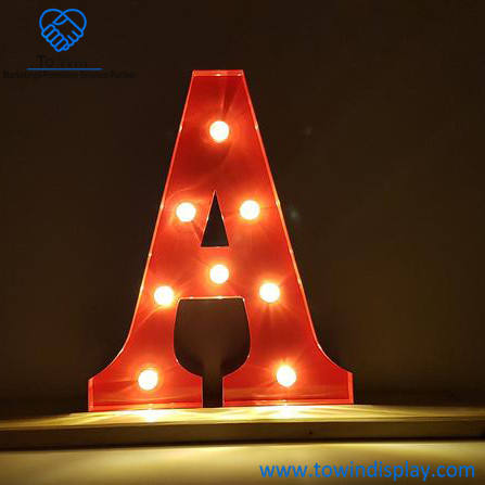 Customized Led Sign Lighting Letter A Shape Plastic Open Sign