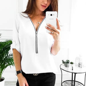 Sexy Chiffon V Zipper Kragen Roll Up Langen Ärmeln Lose Shirt Frauen Bluse Tops