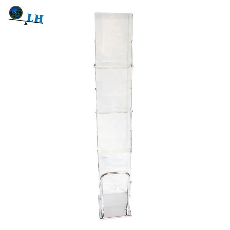 Acrylic Pure Transparent Advertising Poster Display Stand Brochure Rack