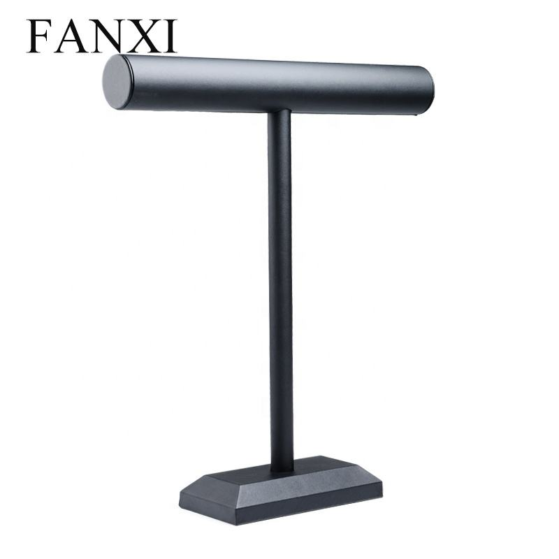 FANXI Custom Black PU Leather Tall T Bar Jewellery Shop Display Holder For Necklace Long Chain Stand hanging jewelry organizer