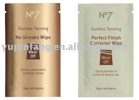 quick clean wet wipes / cleaning wipes in bag / self tanning wipe