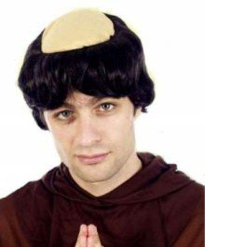 MONK PRIEST VICARS SHORT HAIR//BALD WIG Adults Mens Fancy Dress Costume
