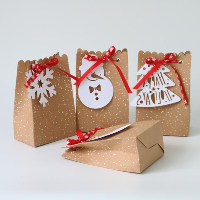 high end christmas small unique gift kraft paper bags with snowflake ribbon