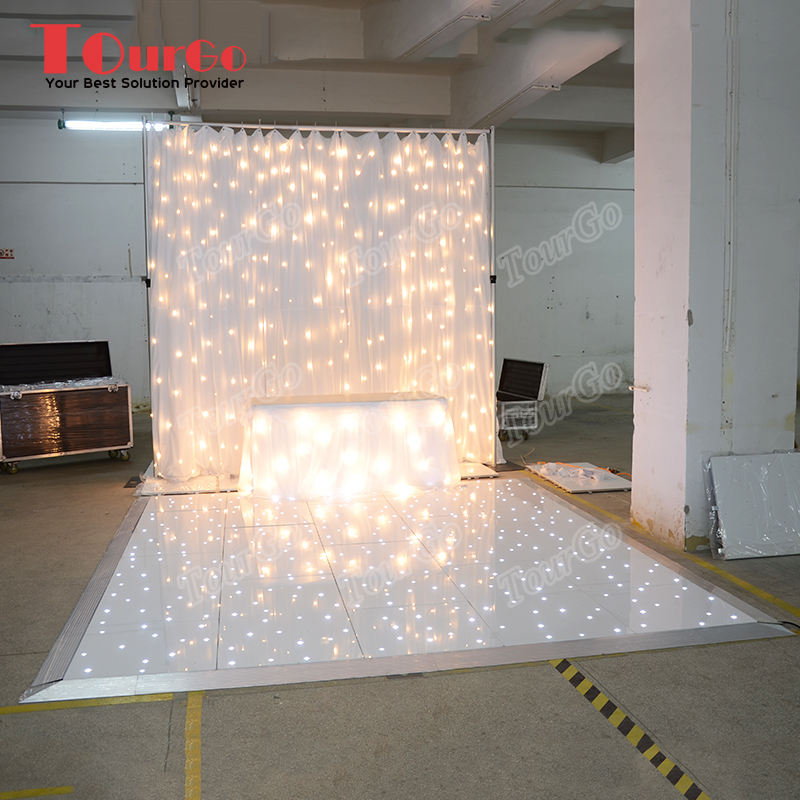 TourGo 20ft x 20ft White LED Starlit Dance Floor with Backdrop for Wedding Stage Decoration